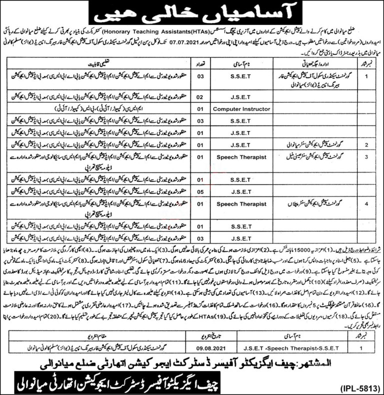 District Education Authority Mianwali Jobs