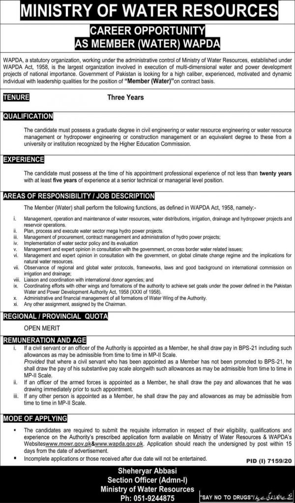 Ministry of Water Resources Islamabad Jobs