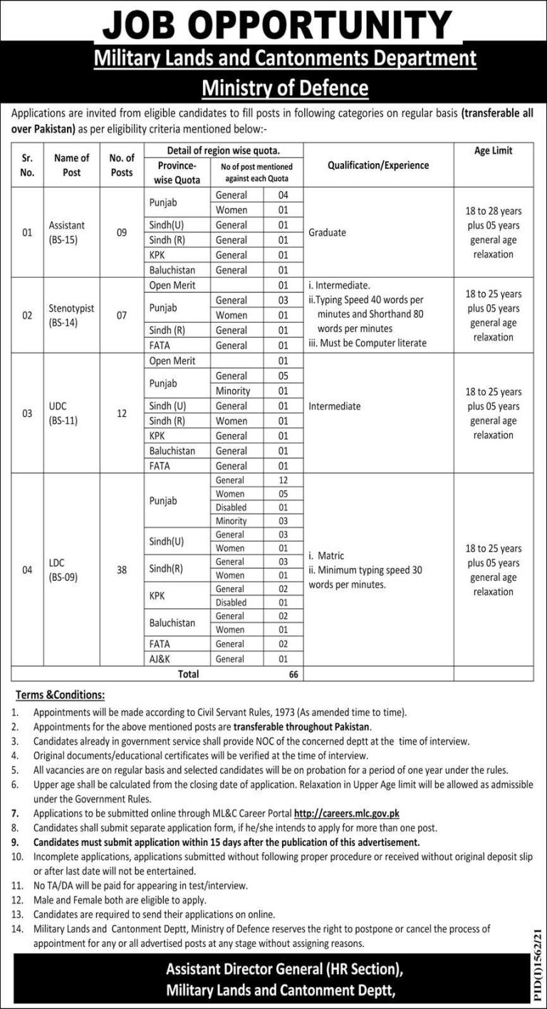 Military Lands and Cantonment Department Jobs